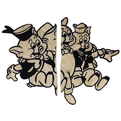 EMDOMO Varken Paar Patches Naai op Jas Badges Naaien Accessoires voor Mode Cowboy Jeans Kleding Merk Badge Geborduurd Applique 1set