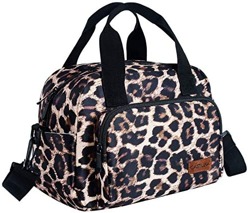 Womens Lunch Bags Insulated Lunch Box Cooler Thermal Bag with Detachable Shoulder Strap Leopard product image