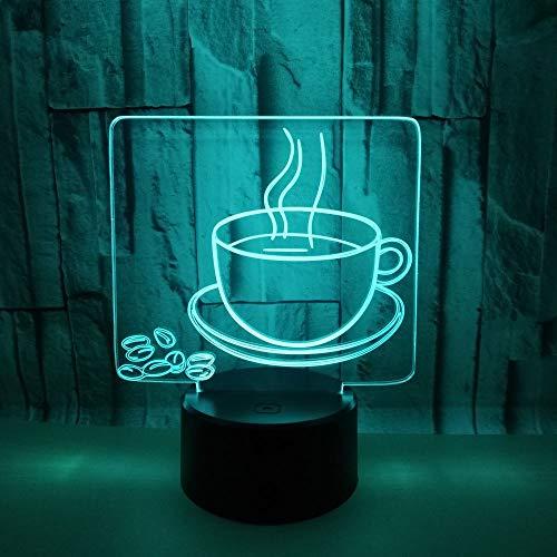 Optical Illusions 3D Kaffee Becher Nacht Licht LED Lampen Tolle 7 Farbwechsel Berühren Tabelle Schreibtisch USB-Kabel für Kinder Schlafzimmer Geburtstagsgeschenke Geschenk