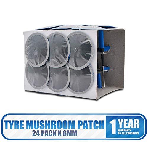 Sunwan - Parche universal para reparación de pinchazos de neumáticos de coche, 24 unidades, 6 mm, con caja de conexión integral, para automóvil, motocicleta, camión, remolque, autobús