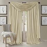 Elrene Home Fashions 26865881509 Window Curtain Drape Rod Pocket Panel, Set of 3, 52' x 84', Ivory, 52'x84' (2 1 Valance