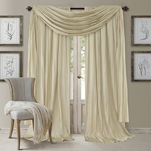 "Elrene Home Fashions Athena Faux Silk Light Filtering Window Curtain Panel Set and Scarf Valance, 52"" x 95"", Ivory, 52""x95"" (2 1"