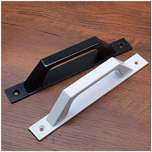 KEEBON 4 Paquete Negro/Blanco Mango de Puerta de Granero Deslizante Cocina/Muebles/Gabinete/Armario/Mango de cajón para la Puerta de Granero Deslizante Cobertizo de Garaje, incluidos los Tor