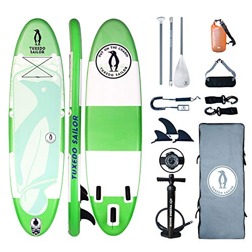 Inflatable 10'×32'×6' SUP with Carry Stripe System Everything Included with Stand Up Paddle Board, Adj Paddle,Big YOGA Non- slip Comfortable EVA Deckpad ,Pump, ISUP Backpack, Leash,Waterproof Bag