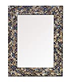 Multi-Colored & Gold, Luxe Mosaic Glass Framed Wall Mirror, Decorative Embossed Mosaic Rectangular Vanity Mirror/Accent Mirror (18' x 24')