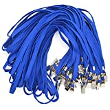 french bulldog lanyard - Bird Fiy 50 Pcs Cotton Lanyard Bulldog Clip 32-inch Flat Braid Neck Lanyard for Id Cards/Badges (Blue)