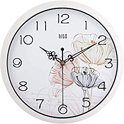 hito Silent Floral Wall Clock Non Ticking 10 inch Excellent Accurate Sweep Movement Glass Cover, Decorative for Kitchen, Living Room, Bathroom, Bedroom, Office (fl4 White)