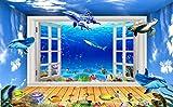Papel Pintado 3D Delfines Románticos En Acuario Fotomurales 3D Murales Papel Tapiz Pared Decorativos Moderno Wallpaper
