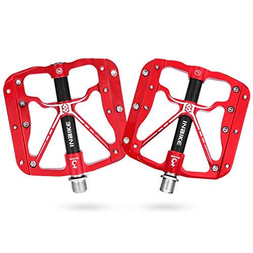 INBIKE Pedales Antideslizante De Bicicleta, Pedales Plataforma con Rodamiento 9/16 para MTB(Rojo)