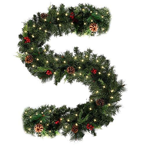 2.7M Tannengirlande Künstlich LED Grüne Weihnachtsgirlande Deko 50 LED Weihnachtsgirlande mit Beleuchtung Hängende Girlande Deko für Kamin Treppentür Weihnachten Kamine Treppen Türen Baum Hof Deko