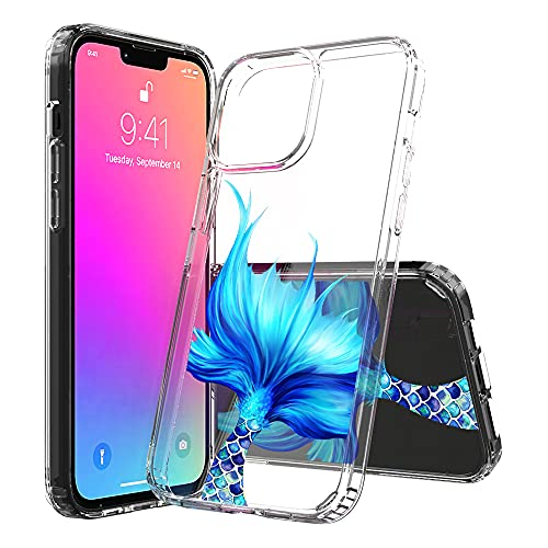 Ftonglogy Cell Phone Case for iPhone 13 Pro Max, Crystal Slim Air Buffer Clear TPU [Drop Proof] Women Girls Design Protective Phone Case Cover for iPhone 13 Pro Max (Mermaid Tail)