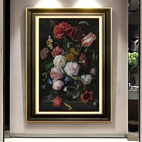 KWzEQ Europäische Klassische Stilllebenölgemäldeplakatwandkunst auf Leinwand für Wohnzimmerdekorationsmalerei,Rahmenlose Malerei,75x112cm