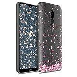 kwmobile Carcasa Compatible con Xiaomi Redmi 8 - Funda de TPU y Flores Cerezo cayendo en Rosa Claro/marrón Oscuro/Transparente