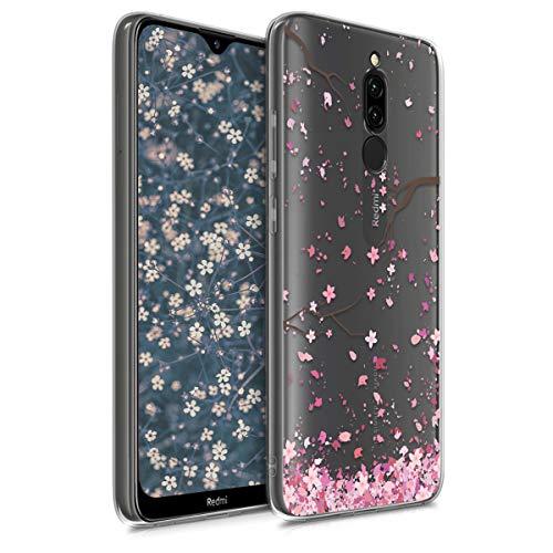 kwmobile Hülle kompatibel mit Xiaomi Redmi 8 - Hülle Handy - Handyhülle - Kirschblütenblätter Rosa Dunkelbraun Transparent