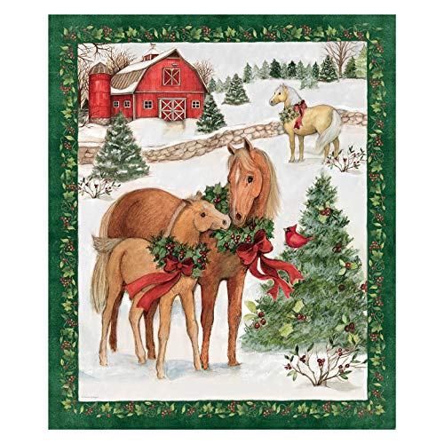Susan Winget Christmas Two Horses Panel Multi Fabric