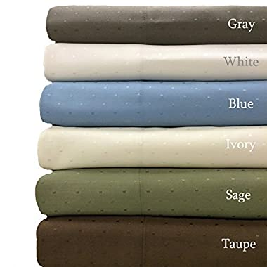 Ivory- Woven Dots 600 Thread-Count Wrinkle free King-size Sheet Set- Cotton blend- 4pc Bed Sheet set (Deep Pocket) By sheetsnthings