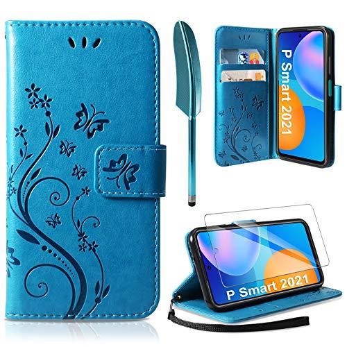 AROYI Funda Huawei P Smart 2021 & Protector de Pantalla, Relieve Dibujo Carcasa de Tipo Libro Soporte Plegable Ranuras para Tarjetas Magnético Ultra-Delgado Case para Huawei P Smart 2021, Azul