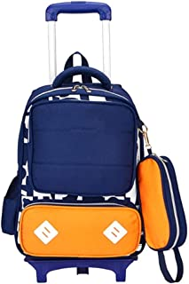 MUBAY Trolley Backpack For Girls Boy School Bags With Wheels Backpack With, Cartoon Double Shoulder Bag Detachable With Pen Case, Blue (Color : Yellow)