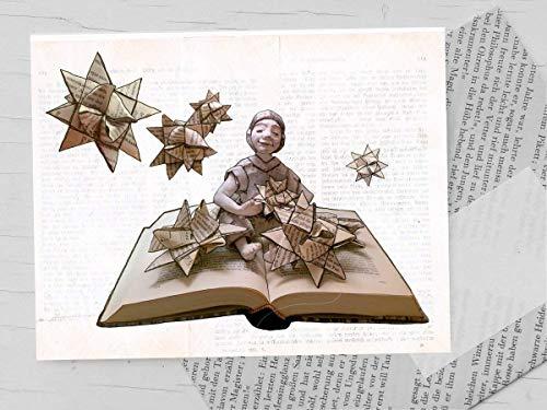 Weihnachtskarte, Klappkarte für Bücher liebende Leseratten - 3