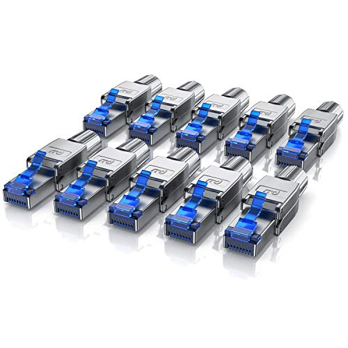 CSL - 10x Netzwerkstecker feldkonfektionierbar RJ45 CAT 6 CAT 7 CAT 8 - geschirmt 40 GBit/s 2000 MHz Ethernet werkzeuglos LAN Kabel - Crimpstecker Steckverbinder für Netzwerkkabel Verlegekabel