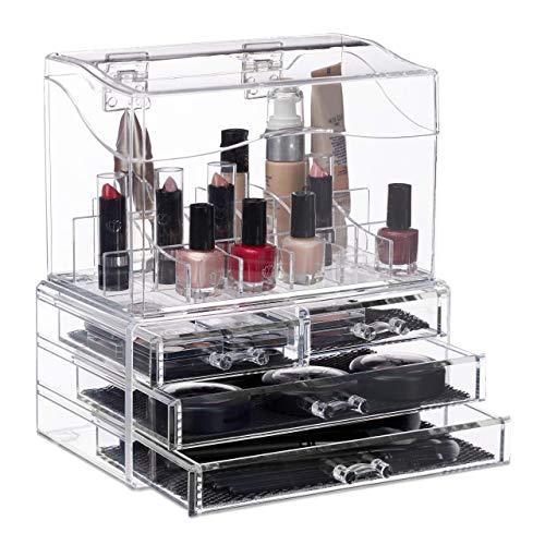 Relaxdays, transparent Make Up Organizer Acryl, 4 Schubladen, Kosmetik Display mit Deckel,...