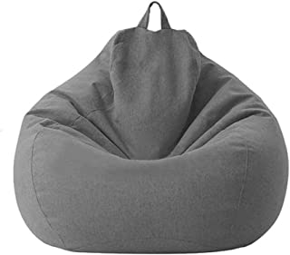 Zchui - Funda de puf de lino y algodón, plegable, funda de sofá para silla de lino, organizador de ropa de peluche, gran ergonómico y perezoso, resistente a la humedad, funda de puf
