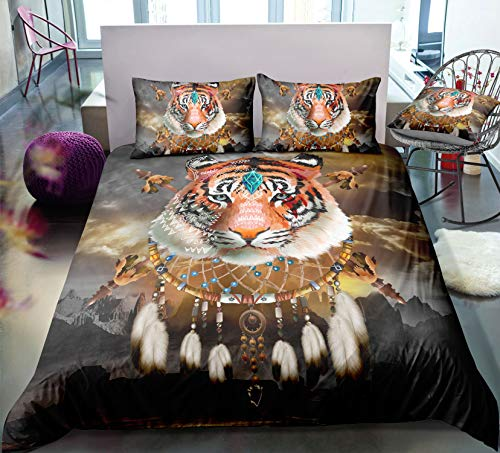 HoYoo Dreamcatcher Animal Print Bedding Set Bohemian Duvet Cover Set Wolf Bed Set King Queen Full Single Bedclothes Best Gift (#3,US Queen/228228cm)