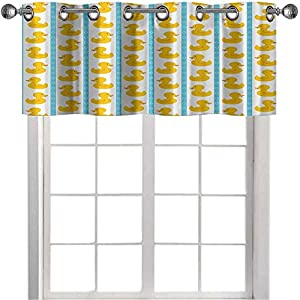 Short Straight Drape Valance Yellow Duckies with Blue Stripes and Small Circles Baby Nursery Play Toys Pattern Curtain valances for Living Room Yellow and Blue