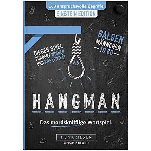 DENKRIESEN - Hangman - Einstein Edition - Galgenmännchen to GO | Spielblock | Partyspiel | Reisespiel | Wichtelgeschenk | Geburtstagsgeschenk | Rätselblock - Spiel ab 2 Personen