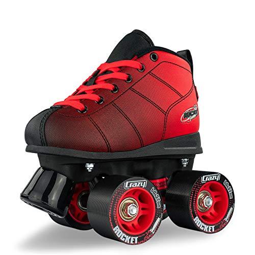 Crazy Skates Rocket Roller Skates for Boys and Girls - Great Beginner Kids Quad Skates - Black/Red (Size Jr10)