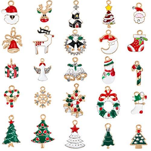 KATELUO Weihnachten Anhänger Charme, Mini Anhänger Weihnachten Deko, Weihnachtsbaum Anhänger, Anhänger Weihnachtsschmuck für DIY Weihnachtsschmuck zum Hängen Weihnachten Dekoration (25 Stück)