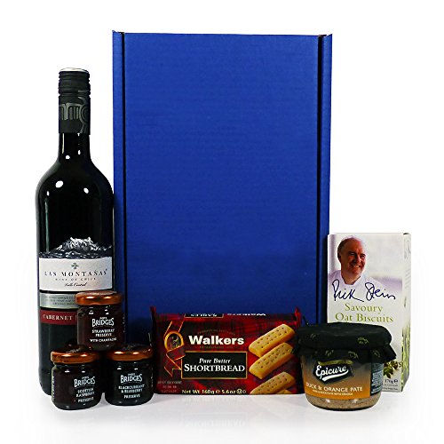 Las Montanas Red Wine and Nibbles Hamper Presented in a Blue Gift Box - Gift Ideas for Christmas, Valentines, Mothers Day, Birthday, Wedding, Anniversary, Thank You, Business and Corporate