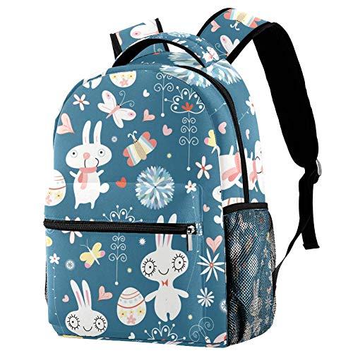 Lorvies Osterhasen Casual Rucksack Schulterrucksack Büchertasche für Schule Studenten Reisetaschen