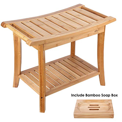 HOMECHO Bamboo Shower Bench Stool Seat with Shelves Waterproof Wooden Bath Spa Bathroom Storage Organizer 23.6' Large, Non Slip, Indoor Outdoor HMC-BA-001