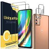 [2 Pack] UniqueMe Protector de Pantalla Compatible con Motorola Moto G9 Plus + [2 Pack] Protector de Lente de cámara, Vidrio Templado [9H Dureza] HD Film Cristal Templado