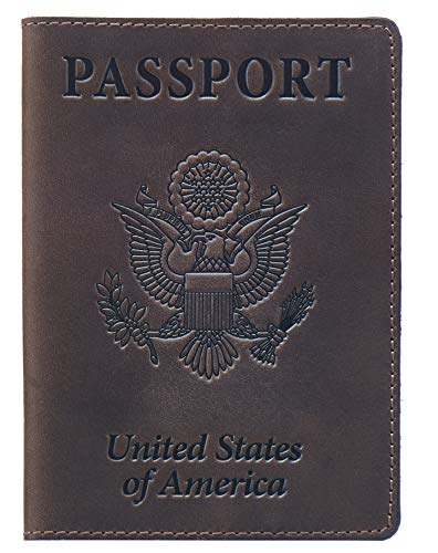 Shvigel Leather Passport Cover - Leather Passport Holder for Men - Passport Holder for Women - US Passport Case - Shvigel Passport Cover for Men (Brown Vintage New)