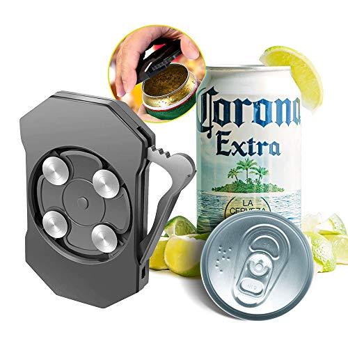 Abrelatas de seguridad, abridor de botellas portátil, borde liso, acero inoxidable de alta calidad, antideslizante, abrelatas de latas, quita rápidamente la tapa, adecuado para cocina, fiesta