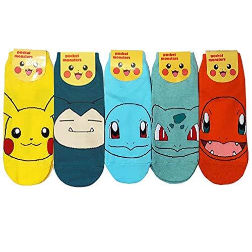Pokemon Go Japanisch Animation Charakter Knöchel Socken mit Beutel Packung mit 5 Paaren - Pikachu, Ivysaur, Charmander, Snorlax, Squirtle Sneakersocken