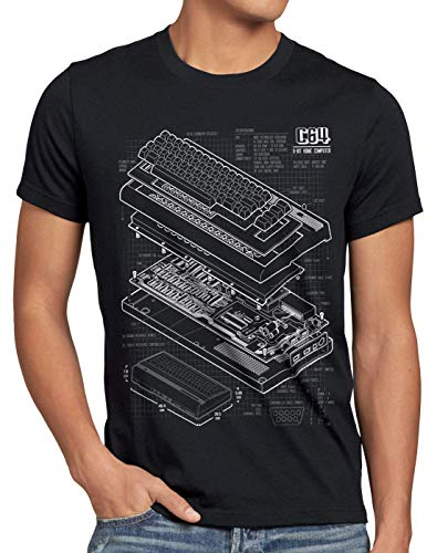 Commodore 64 Blueprint T-shirt for Men, 4 Colours, S to 5XL