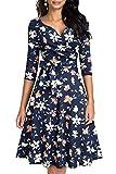 HOMEYEE Damen Retro 50s V-Ausschnitt mit Schärpe Swing Cocktail Party Kleid A240 (M, Dunkelblau + Gelb Blumen)