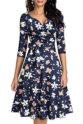 HOMEYEE Damen Retro 50s V-Ausschnitt mit Schärpe Swing Cocktail Party Kleid A240 (XL, Dunkelblau + Gelb Blumen)