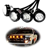 iJDMTOY Ford Raptor Style Amber LED Grille Lighting Kit Compatible With Chevy Dodge Ford GMC, 4-Piece 3000K Grill or Side Marker Light Set