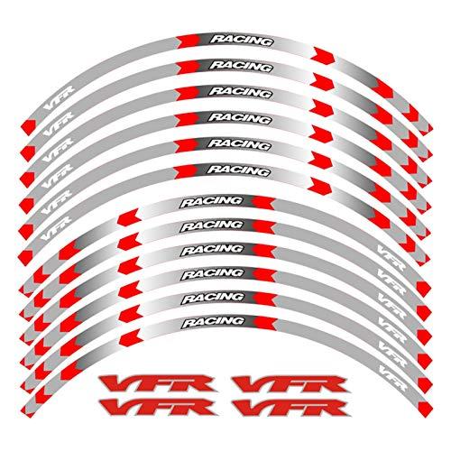 PPLAU Pegatinas de Ruedas 7 Estilo Motocicleta Rueda Neumático Rim Pegatinas 17inch Rueda para Honda VFR vFR750 VFR800 VFR1200 VFR1200F (Color : B Red)
