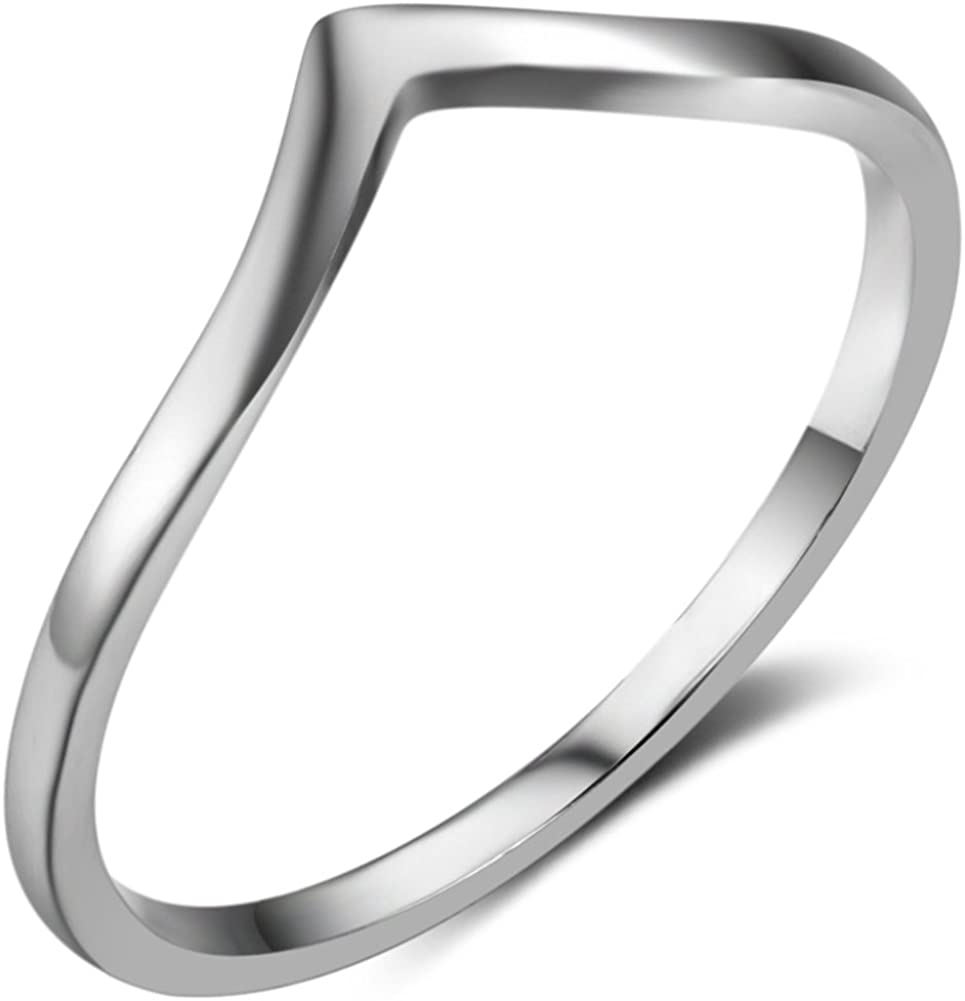 Stainless Steel Pointed Chevron Classical Simple Plain Statement Promise Ring