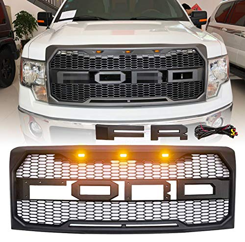 Front Grill for F150 Ford F-150 2009 2010 2011 2012 2013 2014 Raptor Style Grille Matte Black (black)