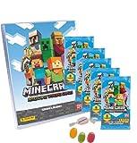 ★ Panini Minecraft Trading Cards Adventure (2021), 1 carpeta vacía + 5 sobres adicionales, 1 x surtido de pegatinas de frutas y 1 x caramelos