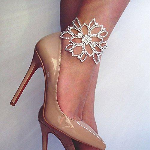 Ellepigy Frauen Einfach Strass Fußschmuck Barfuß Hollow Blumen Form Anhänger Strand Fußkette Knöchel Armband