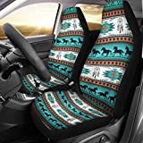 chaqlin Saddle Blanket Car Seat Covers Set of 2, Universal Fit for Vehicle Sedan, Car Interior Protector Dreamcatcher Horse Print Native American Pattern