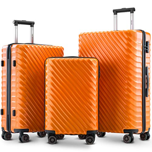 Merax Luggage Set 3 Pieces- Hard Shell Suitcases Cabin Hand Travel Wheels ABS+PC Case with Lock (Orange)
