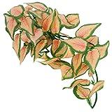 Jeanoko Las hojas artificiales de ratán del paisaje de los tanques de pescado para los tanques de peces para el paisaje del acuario